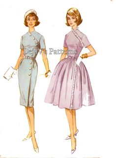 McCall's 5696 Vintage 1960s Surplice Dress Sewing Pattern by DejaVuPatterns
