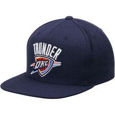 half off 382db 9c28c Oklahoma City Thunder Mitchell   Ness Current Logo Wool Solid Snapback  Adjustable Hat - Navy