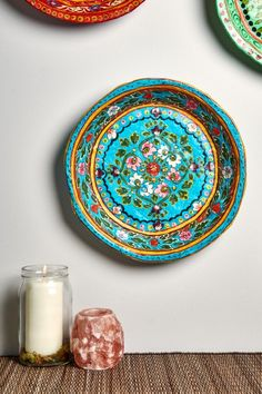 Turquoise Paper Mache Plate from India | Earthbound Trading Co.