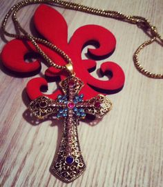 Gold Cross necklace with bright color rhinestone by RainingRustic, $9.50