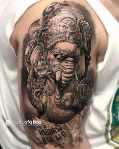 """Love the shadowing . Carlos Fabra CosaFina tattoo no Instagram: """"Ganesha de Tailandia// Thai Ganesh Gracias Jose por confiar en mi para conmemorar un viaje tan importante en tu vida. Que este amuleto te…"""""""