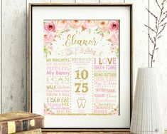 GIRL 1ST BIRTHDAY MILESTONE SIGN - FLORAL PINK AND GOLD GLITTER FIRST BIRTHDAY PERSONALIZED MILESTONE STATS SIGN POSTER DIGITAL DOWNLOAD FILE - PRINTABLE A perfect touch to your little girls first birthday party! This gorgeous pink & gold floral 1st birthday milestone sign is