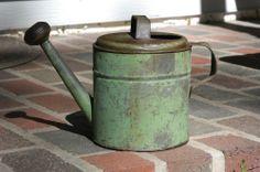 Antique Child's Garden Watering Can With Original Green Paint Garden Junk, Garden Items, Garden Tools, Metal Watering Can, Watering Cans, Coffee Machine, Water Garden, Buckets, Vintage Green
