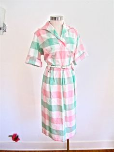Sz. XXL 40s 50s Plaid Day Dress Pink Green by LikewiseVintage