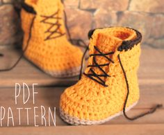"Crochet Pattern boots for baby boys booties ""Woodsman"" Construction Boot Crochet Pattern, Yellow, PATTERN ONLY by Inventorium on Etsy https://www.etsy.com/listing/198382590/crochet-pattern-boots-for-baby-boys"