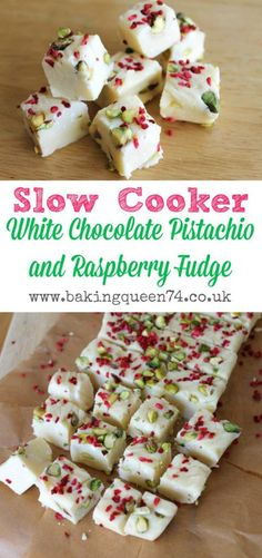 Slow Cooker White Chocolate, Pistachio and Raspberry Fudge - perfect for homemade gifts for the holiday season (white chocolate rasberry cake recipe) Fudge Recipes, Candy Recipes, Sweet Recipes, Holiday Recipes, Dessert Recipes, Christmas Recipes, Christmas Desserts, Yummy Recipes, Homemade Christmas