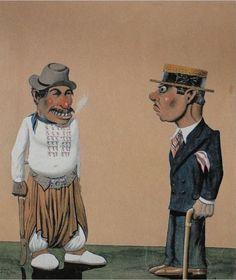 Florencio Molina Campos - EL GAUCHO Y EL CAJETIYA. His work represents gauchesco scenes with a bit of humor. arguably Argentina's leading figure in naïve art