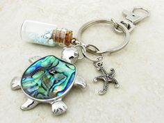 Sea Turtle Keychain Turquoise Stones Keychain by EarthlieTreasures