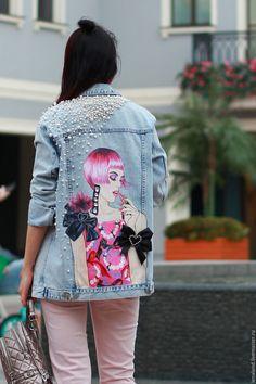 denim jacket, art on denim ,denim jean jacket with art,pop-art Denim Fashion, Trendy Fashion, Fashion Outfits, Trendy Style, Looks Jeans, Painted Denim Jacket, Denim Art, Denim Ideas, Mode Boho