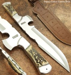 IMPACT CUTLERY RARE CUSTOM D2 BUSHCRAFT HUNTING KNIFE STAG ANTLER HANDLE | eBay