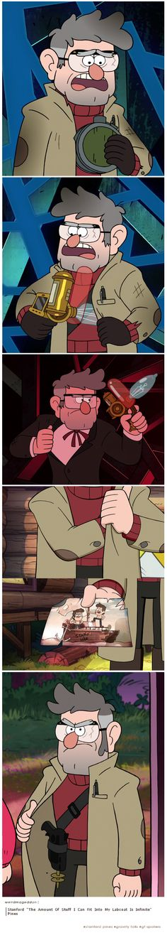 """weirdmageddon:  Stanford """"The Amount Of Stuff I Can Fit Into My Labcoat Is Infinite"""" Pines  #stanford pines #gravity falls #gf spoilers"""