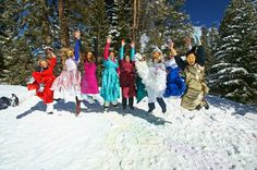 Snow bunny bachelorette party with 80s prom dresses - Breckenridge, CO