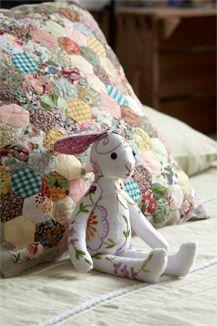 hand embroidered vintage linen rabbit