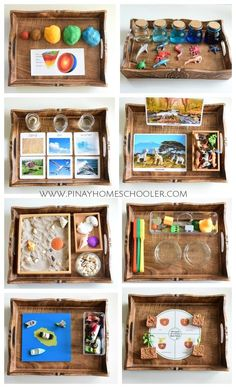 Earth Science activity trays science Montessori Inspired Activities for Earth Science Science Montessori, Earth Science Activities, Montessori Trays, Montessori Playroom, Montessori Homeschool, Preschool Science, Kid Science, Preschool Learning, Montessori Baby
