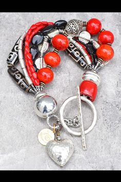 Red, Black and Silver Bracelet: Personalized $150 Chunky Heart Charm Statement Bracelet Ankle Bracelets, Jewelry Bracelets, Jewellery, Red Jewelry, Bohemian Bracelets, Braided Bracelets, Jewelry Crafts, Silver Charms, Sterling Silver Bracelets