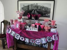 Mimi's Glam Pink, Black, White Damask Baby Shower Candy Buffet Bar, Custom Cupcakes & Favors- Hollywood Hills, Ca Cupcake Favors, Baby Shower Candy, Custom Cupcakes, Baby Boy Shower, Baby Showers, Girl Themes, Candy Buffet, Candy Table, Dessert Table