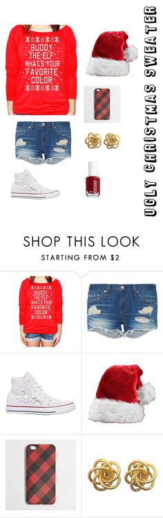 """""""Ugly Christmas sweater"""" by clairebear89 ❤ liked on Polyvore featuring rag & bone, Converse, J.Crew and Essie"""