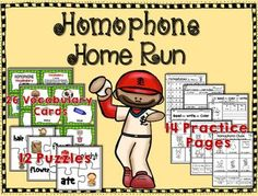 Homerun Homophones ~ Your students con enjoy learning about HOMOPHONES using these fun and engaging activities!Here's what's included:26 Homophone Vocabulary CardsCopy, laminate and cut.  Place on a book ring for students to practice.12 Colorful PuzzlesCopy onto card stock, laminate and cut.