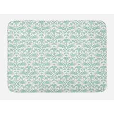 Aqua Bath Mat, Sea Wave Design Like Image Round Swirls Beach Theme Hand Drawn Style Artwork, Non-Slip Plush Mat Bathroom Kitchen Laundry Room Decor, 29.5 X 17.5 Inches, Seafoam and White, Ambesonne #beachthemedweddings