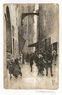Telemaco Signorini acquaforte, Il ghetto,1874