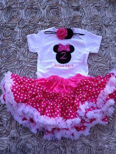 Hot pink minnie mouse birthday outfit 1st birthday shirt headband and petti skirt - custom birthday shirt