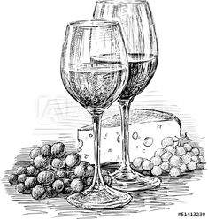 Wine Glasses And Cheese Royalty Free Stock Image – Image: 30409156 – Lisa Finlay – # … - Zeichnung Ink Pen Art, Cool Art Drawings, Pencil Art Drawings, Art Drawings Sketches, Still Life Sketch, Still Life Drawing, Still Life Art, Wine Glass Drawing, Cheese Drawing