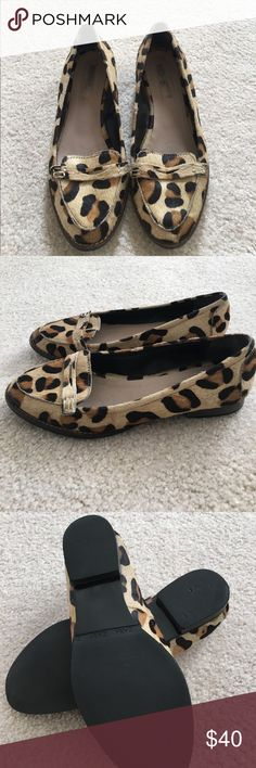 """Zara Leopard Calf Hair Loafers These leopard loafers are in great gently used condition. The only signs of wear are on the soles. Features calf hair uppers, an almond shaped toe, and 1/2"""" block heel. They say size 37, but fit more like a US 6-6.5. Zara Shoes Flats & Loafers"""