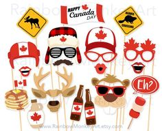 Printable Photo Booth Party Props by RainbowMonkeyArt Canada Day Party, Canadian Party, Canadian Gifts, Rainbow Monkey, Canada Day Crafts, Photo Booth Party Props, Photo Props, Happy Canada Day, Bungee Jumping