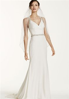 Halter Chiffon Sheath Gown with Beaded Straps