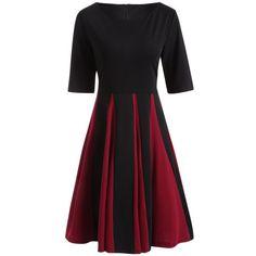 Retro Color Block Fit and Flare Dress, BLACK, XL in Vintage Dresses | DressLily.com