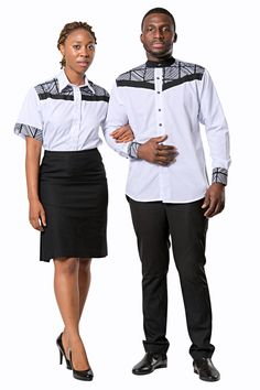 Couples African Outfits, Couple Outfits, African Attire, African Shirts For Men, Plain White Shirt, Afro, Fashion Couple, Men's Coats And Jackets, African Print Fashion