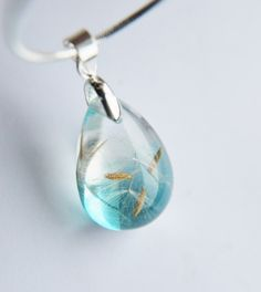 Dandelion Necklace Resin Teardrop Eco Real by NaturalPrettyThings