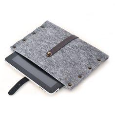 Portel Ipad case, grey felt & leather.