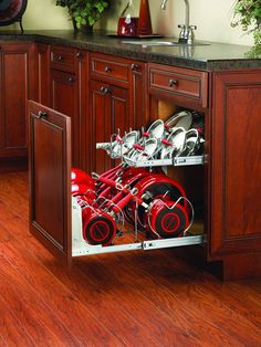 This Two-Tier Kitchen Cabinet Cookware Organizer by Rev-A-Shelf is a great way to organize your cookware. With a lid rack and dividers for your pots and pans you are sure to rock kitchen organization. Pan Organization, Kitchen Cabinet Organization, Kitchen Storage, Cabinet Ideas, Cabinet Storage, Cabinet Space, Medicine Organization, Cabinet Organizers, Cabinet Drawers