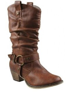 Get dressed up for a night at your local honky-tonk with these Women Tan Western Style Cowboy Boots. The Medium Width Faux Leather Womens Cowgirl Boots feature a 2 inch heel, o-ring buckle strap, a looped pull on strap, rounded toe and padded footbed. The 12 inch upper and  16 inch opening fit comfortably over the calf, giving that Slouch appearance. These comfortable Women Cowboy Boots are great for everyday use. Free Shipping!