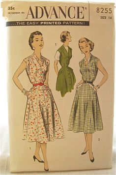 1950s Advance 8255 Button Front Shirtdress or Jumper by EmSewCrazy, $18.00