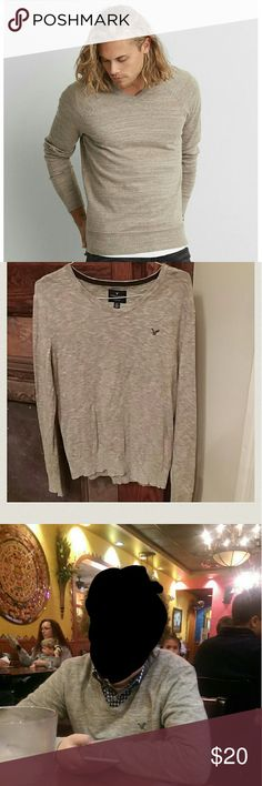 American Eagle Raglan V-Neck Sweater Oatmeal raglan v-neck sweater by American Eagle. A classic look. Great over a button down as well. Perfect condition! American Eagle Outfitters Sweaters V-Neck