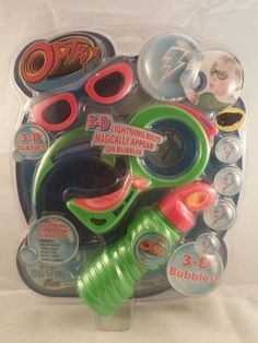 3-D Lightning Bubble Set 3-D glasses Dip and Blow Optrix Imperial New #Optrix
