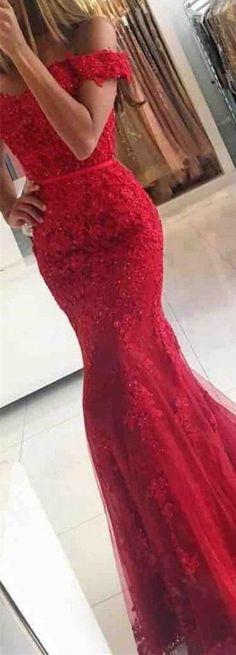 Sexy Prom Dress,red prom dresses, long mermaid prom dresses, off shoulder prom dresses,lace prom dresses