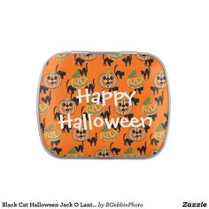 Black Cat Halloween Jack O Lantern Pumpkins Jelly Belly Candy Tins - $6.61 - Black Cat Halloween Jack O Lantern Pumpkins Jelly Belly Candy Tins - by #RGebbiePhoto @ #zazzle - #Halloween #Pumpkins #Cats - Black cats with Halloween Jack-O-Lantern Pumpkins. Over an orange background, this Black and Orange Halloween Theme goes great any time of the year!