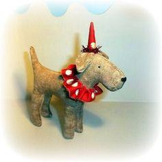 . Clown Hat, Fox Terrier, New Toys, Dinosaur Stuffed Animal, Crafty, Christmas Ornaments, Dog, Antiques, Holiday Decor