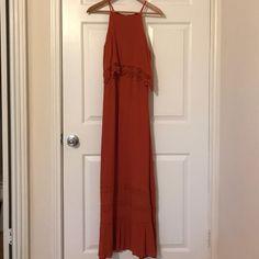 Rust colored maxi dress with crochet detailing Burnt Orange Bridesmaid Dresses, Burnt Orange Dress, Red Orange Color, Blue Rain, Color Pairing, Rust Color, Formal Dresses, Crochet, Fashion