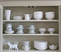 From Kate's creative space - beautiful arrangement of stuff in open shelving