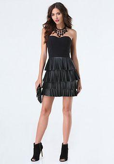 bebe Ruffle Pleated Dress