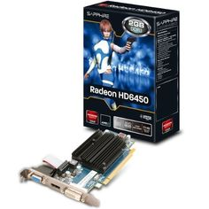 RADEON HD 6450 - Grafikkarten by Sapphire Technology. $79.97. Technical Specifications: Bus system: PCIe x16 · CPU speed: 625 MHz · Graphics card connections: DVI, VGA, HDMI · Graphics processor: AMD RadeonTM HD6450 · Memory clock frequency: 1334 MHz · Memory interface: 64 Bit · Memory type: DDR3-RAM · Number of stream processors: 160 Description: Graphics card SapphireAMD RadeonÃ'Â HD6450N/ADDR3-RAMPCIe x16DVI