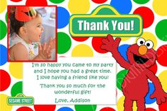 Elmo Thank You Card Red Yellow Green Blue Dots with Photo and Background Options - Customizable Printable on Etsy, $10.00