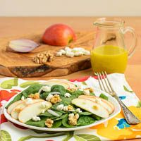 Apple Walnut Spinach Salad Note: skip the goat cheese