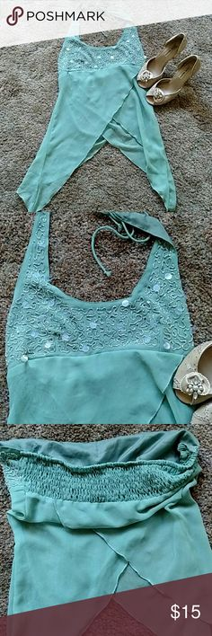 Charlotte Russe beaded top mint green Stretchy, gathered back Tops