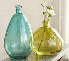 Aqua and Citrine Balloon Vases - VivaTerra, $69 each but diameter 10 inches