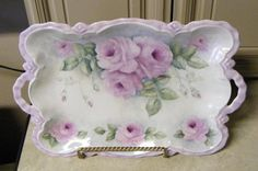 mauve roses tray by Priscilla.... Sold